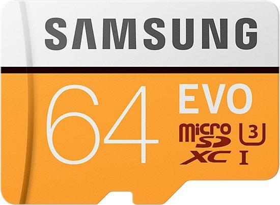 Samsung Evo Micro SD kaart 64GB - met adapter