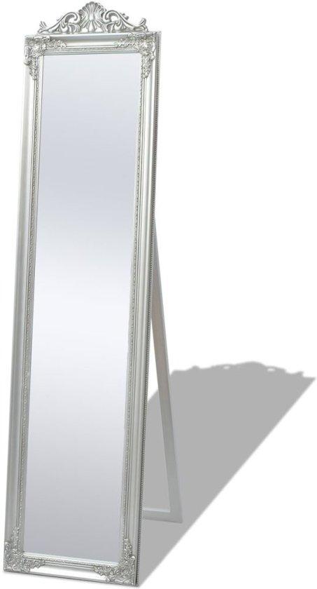 Vrijstaande spiegel Barok 160x40cm zilver