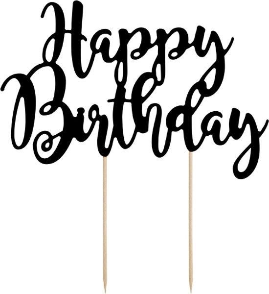 Happy Birthday - kartonnen taarttopper   Zwart