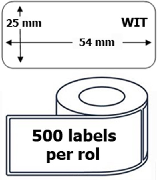 10x Dymo 11352 compatible 500 labels  / 25 mm x 54 mm / wit / papier