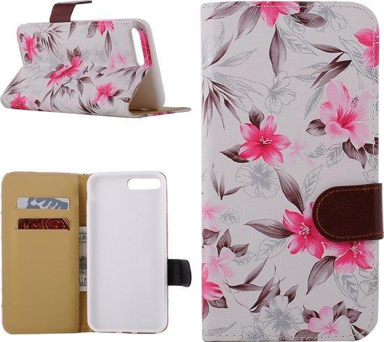iPhone 7 Plus Bookcase Hoesje - Portemonnee Hoesje - Telefoonhoesje - Cover - Bookstyle Hoesje - Booktype Hoesje - Klap Hoesje - Flip Cover - Smartphonehoesje - Wallet Hoesje - Boek Hoesje - Book Case - Portefeuille Hoesje - Case - Bookstyle Case - Hoes - Beschermhoesje - Wallet Case - Bloemen Design - Wit in Darion