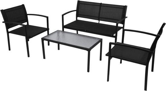 4-delige Loungeset textileen zwart (incl. Fleecedeken)