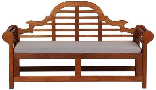 Beliani Tuinbank hout 180 cm met grijs-beige kussen TOSCANA MARLBORO