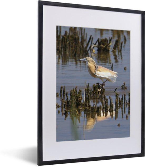 Foto in lijst - Ralreiger zit op takken in het water fotolijst zwart met witte passe-partout klein 30x40 cm - Poster in lijst (Wanddecoratie woonkamer / slaapkamer)