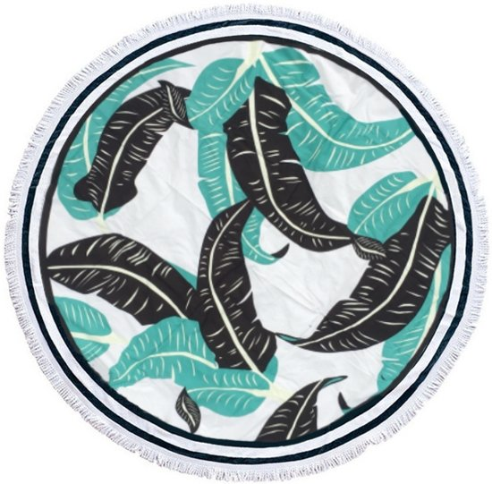 Leaf Jungle Roundie Doek | 100% Polyester | 150 x 150 cm | Fashion Accessoire/Home Deco/Musthave