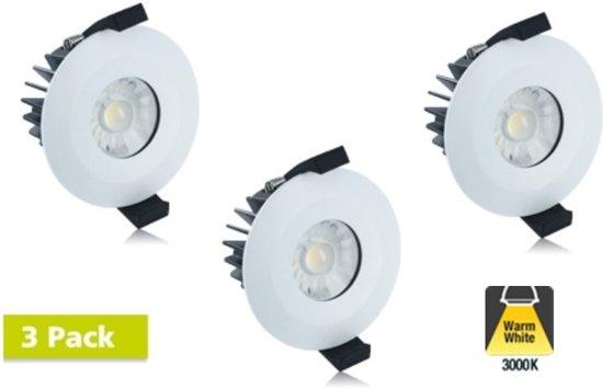 3 Pack - Led Downlighter 8,5w, 640 Lumen, 3000K Warm Wit, IP65, Dimbaar, Ø70mm gatmaat
