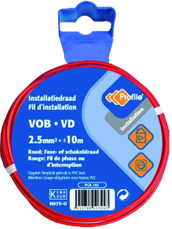 PROFILE installatiedraad VOB (België) VD (Nederland) - 2,5mm² - rood - 10 meter