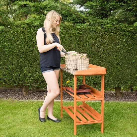 relaxdays - oppottafel met zinken blad - hout - 3 etages - tuinwerktafel planten