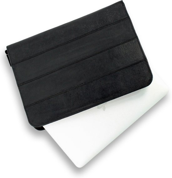 Zwart Leren Laptopsleeve - Maximale grootte 11,6 inch - Organizer A4 - 100% Echt Leder - Macbook / Ultrabook - Documentenhouder - Merk: Safekeepers - art: 4004