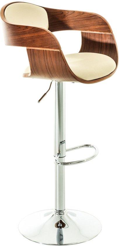 Clp Moderne barkruk KINGSTON - verchroomde kolomvoet, met armleuning, houten zitting met kunstleer - crème walnoot