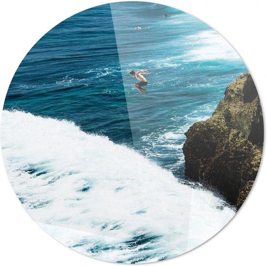 Sprong in het diepe | Wanddecoratie | Ronde Plexiglas | 100CM x 100CM | Schilderij | Foto op plexiglas