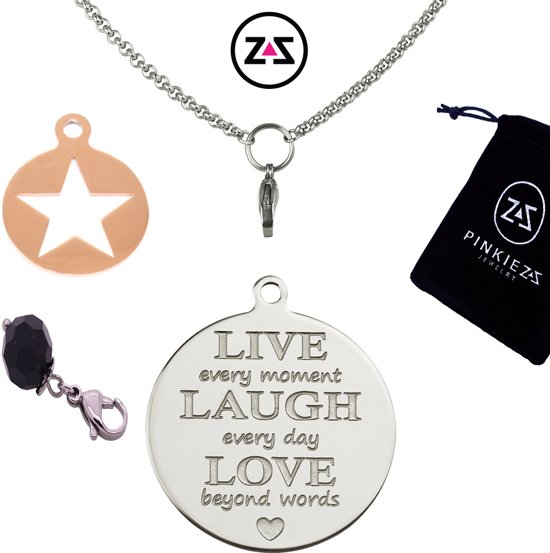 Pinkiezz munt ketting ster 'Live Laugh Love'