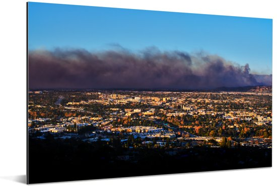Donkere wolkenformatie vormt zich boven het Amerikaanse Santa Ana Aluminium 120x80 cm - Foto print op Aluminium (metaal wanddecoratie)