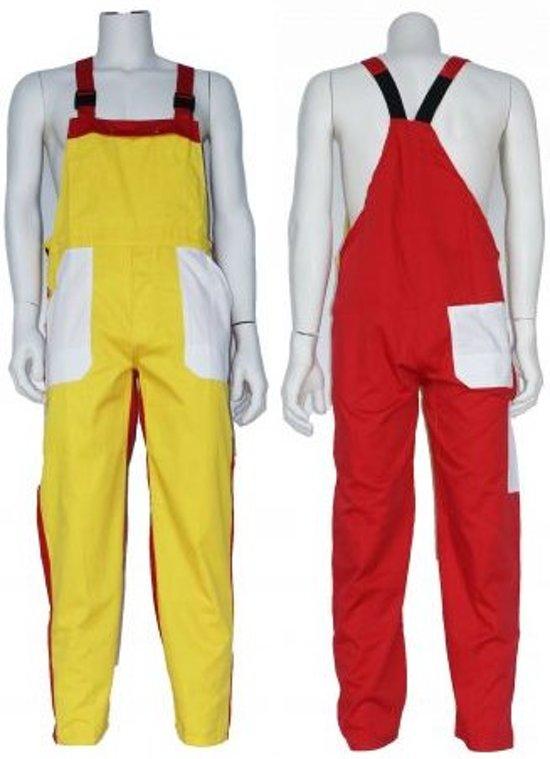 Yoworkwear Tuinbroek polyester/katoen geel-wit-rood maat 52