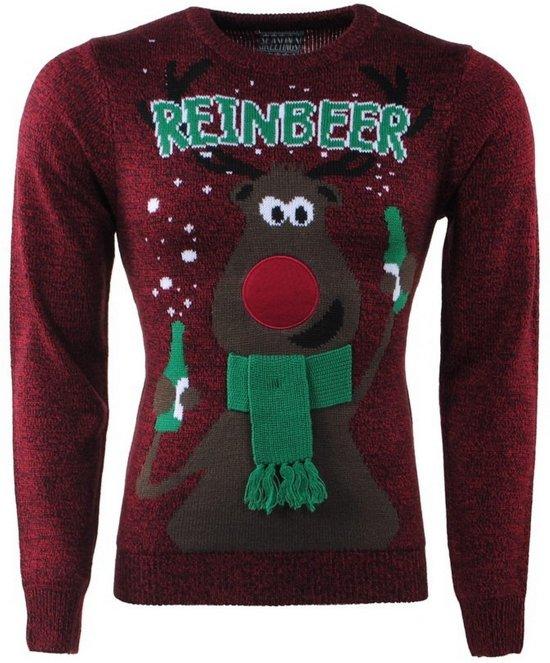 e1775ec7493 Kersttrui voor Heren en Dames - Fijn Gebreid - Ronde Hals - Reinbeer -  Bordeaux Rood