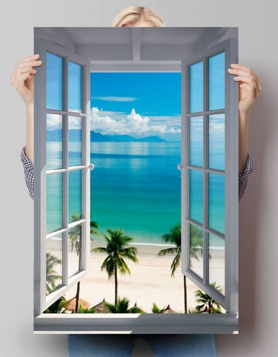 reinders poster beach window poster 61 91 5 cm no 24454. Black Bedroom Furniture Sets. Home Design Ideas
