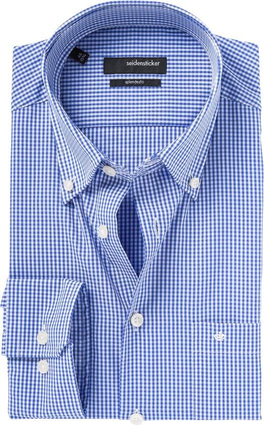 Maat 38 Overhemd.Bol Com Seidensticker Overhemd Modern Fit Ruit Dessin Blauw 38