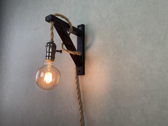 Wandlamp touw/ touwlamp zwart