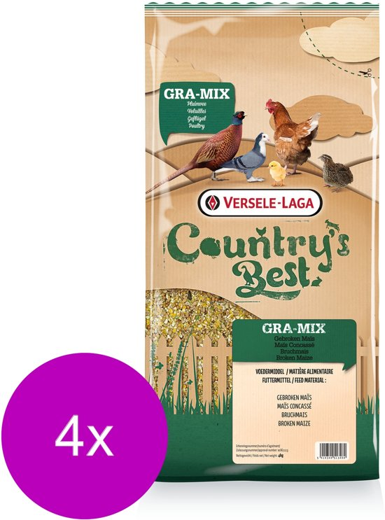 Versele-Laga Country`s Best Gebroken Maïs - Pluimveevoer - 4 x 4 kg