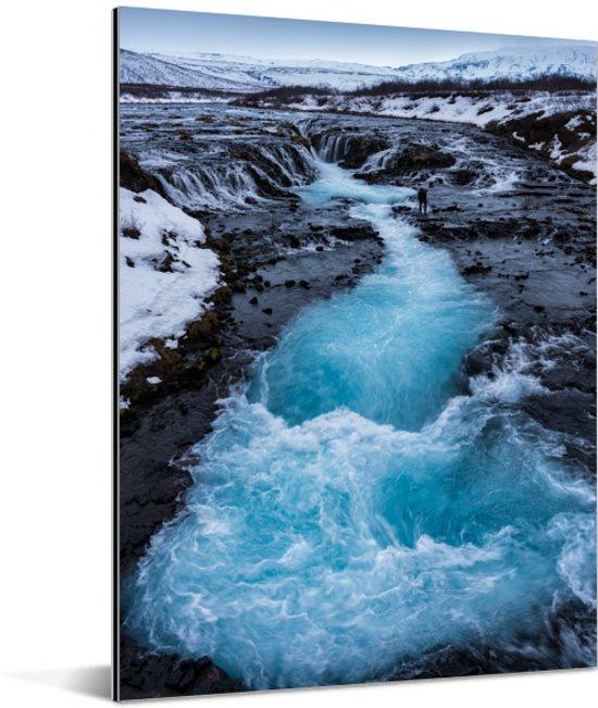 Verschillende blauwe kleuren in het water van de Gullfoss waterval Aluminium 120x160 cm - Foto print op Aluminium (metaal wanddecoratie) XXL / Groot formaat!