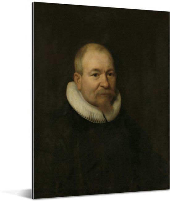 Portret van Samuel van Lansbergen - Schilderij van Bartholomeus van der Helst Aluminium 120x160 cm - Foto print op Aluminium (metaal wanddecoratie) XXL / Groot formaat!