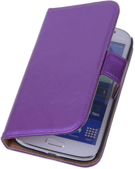 PU Leder Lila Hoesje Samsung Galaxy Grand Neo Book/Wallet Case/Cover