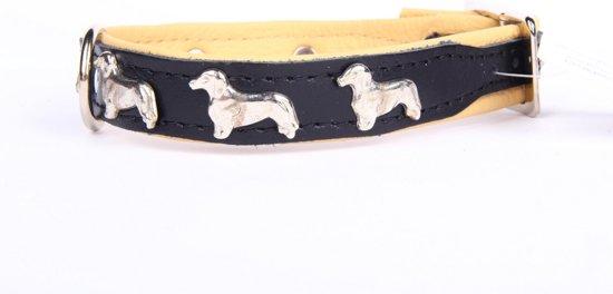 Dog's Companion Leren Halsband - Teckel - 28-34 cm x 16 mm - Zwart/Naturel