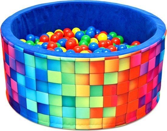 Ballenbak - stevige ballenbad -90 x 40 cm MOZAÏK patroon- 200 ballen Ø 7 cm - geel, rood, groen en blauw