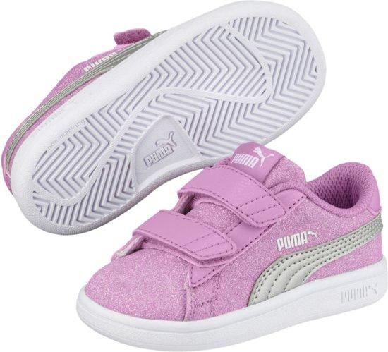 PUMA Smash v2 Glitz Glam V PS Sneakers Kinderen Orchid Puma Silver
