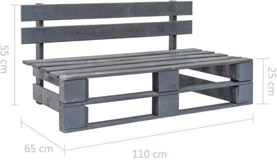 vidaXL Pallet tuinbank FSC hout grijs
