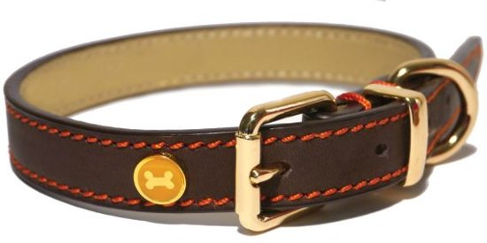 Rosewood - Luxe lederen halsband - Bruin - 1,9 x 36 x 46 cm