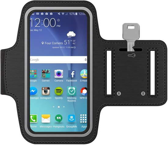 MMOBIEL Sport / Hardloop armband (ZWART) voor Samsung S10 PLUS / S9 PLUS / S8 PLUS / S7 Edge / Note 9 / Note 8 / Note 5 /  A8 Plus / A7 / J7 Spatwatervrij, Reflecterend, Neopreen, Comfortabel, Verstelbaar, Koptelefoon Aansluitruimte en Sleutelhouder!