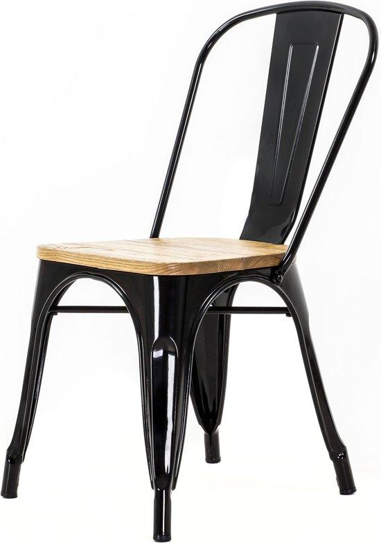 Zwarte Houten Eetkamerstoelen.Bol Com Cafe Stoel Houten Zitting Zwart