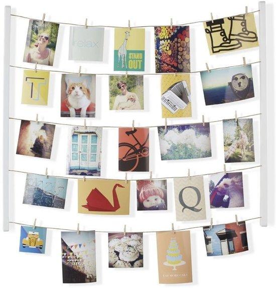 Umbra foto display met 40 knijpers Hangit hout - Kleur - Wit Valentinaa