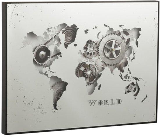 J-Line Wandklok Wereldkaart Spiegel Metaal Zilver 80x4,5x60