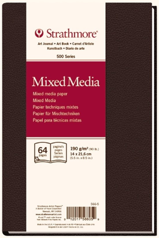 500 series mixed media papier 14x21,6cm 190g/m² 32 vellen/64 pagina's in een hard gebonden boek