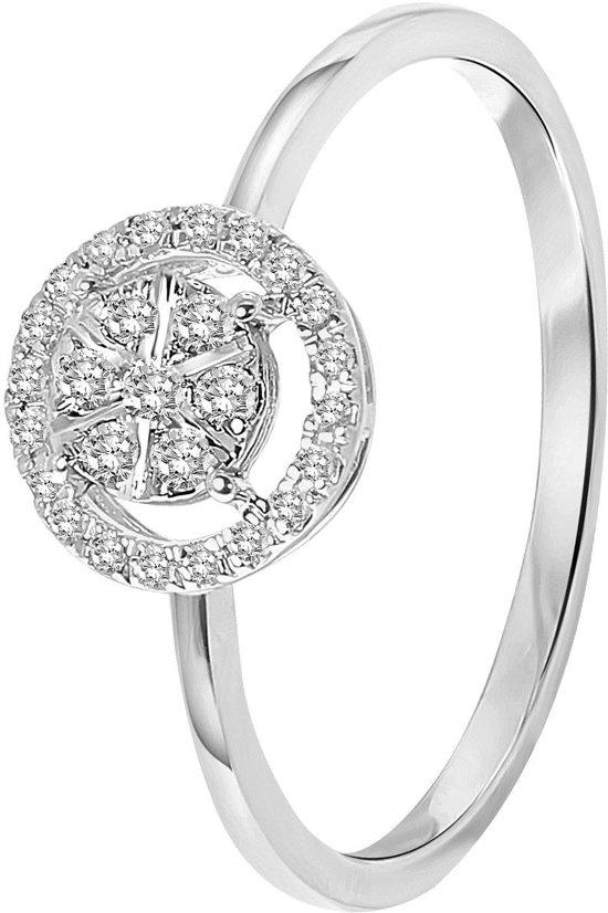 Lucardi - Diamond Luxury - 14 Karaat witgouden ring entourage met diamant