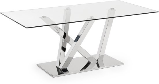 Glas Voor Tafelblad.Kave Home Uve Tafel Chroom Glazen Tafelblad 200cm