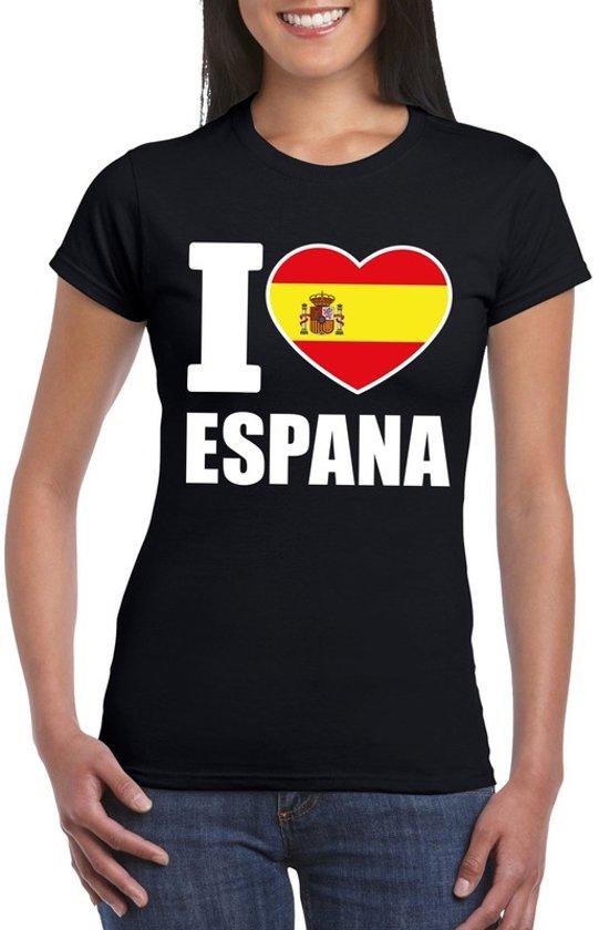 Zwart I love Spanje fan shirt dames XL
