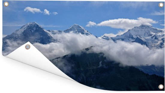 Zicht over de Zwitserse Eiger bij de Berner Alpen Tuinposter 60x30 cm - klein - Tuindoek / Buitencanvas / Schilderijen voor buiten (tuin decoratie)
