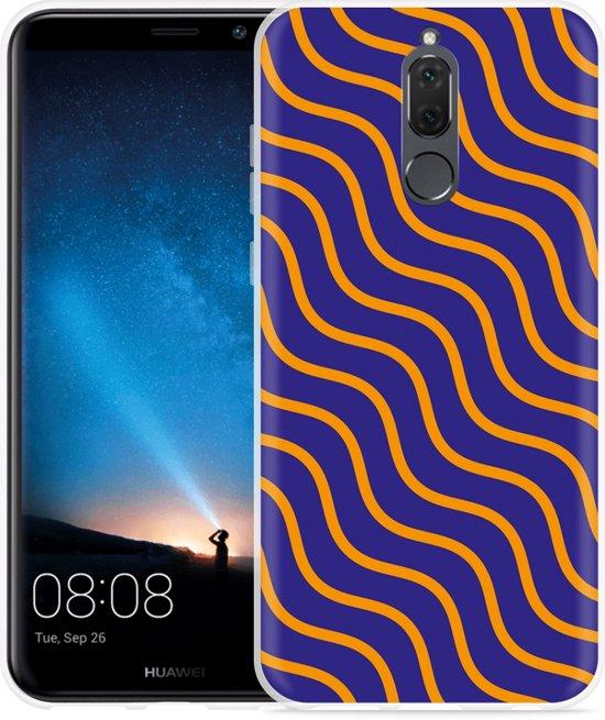 Huawei Mate 10 Lite Hoesje blauw oranje lijnen