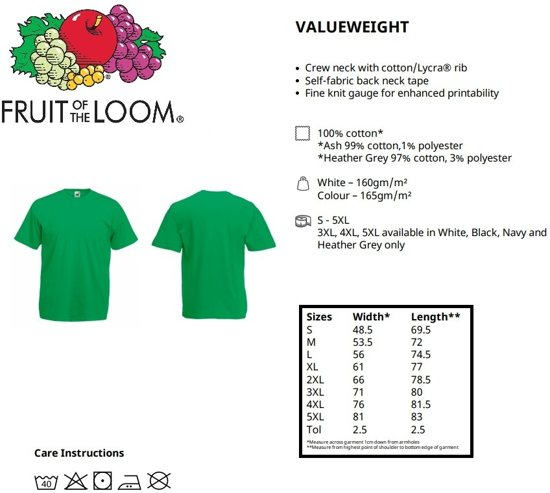 Valueweight Fruit Of Hals Maat Pack Loom Ronde 3 Zwarte M The Shirts vn0m8wN