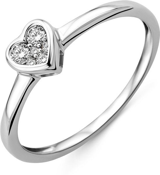 Majestine 9 Karaat Ring Witgoudkleurig (375) Hart met Diamant 0.11ct maat 54