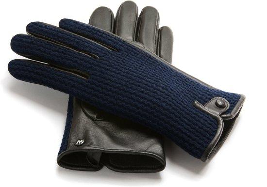 NapoWOOL Echt lederen touchscreen handschoenen Blauw/Zwart maat S