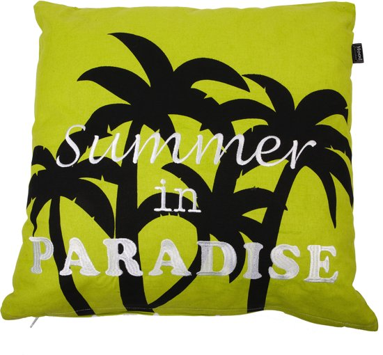 In The Mood Paradise Zigzag - Sierkussen - 50x50 cm - Lime