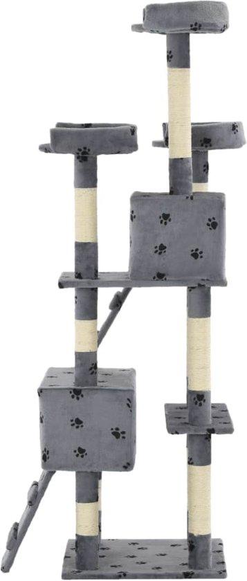 vidaXL Kattenkrabpaal met sisal krabpalen 170 cm pootafdrukken grijs