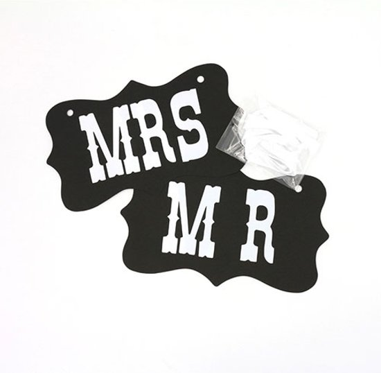 Photobooth Prop - Mr & Mrs bruiloft sign - zwart Valentinaa