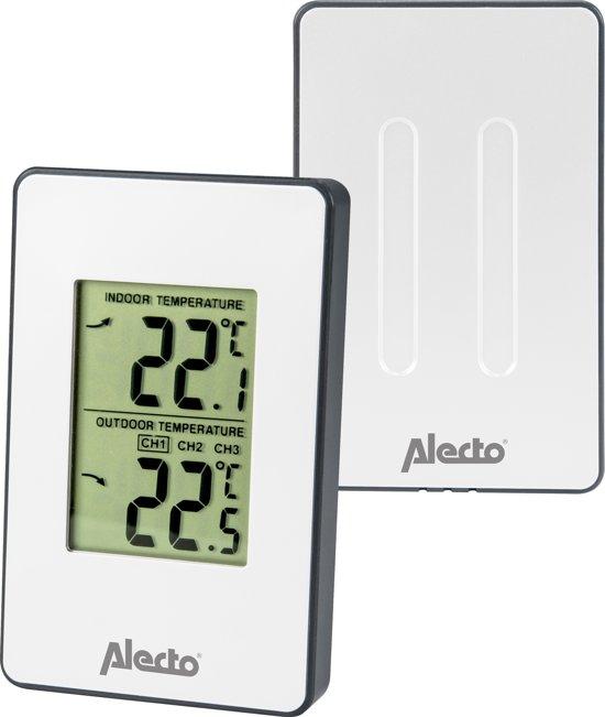 Alecto WS-1050 Draadloos weerstation | Meet binnen- en buitentemperatuur in Compact formaat | Wit