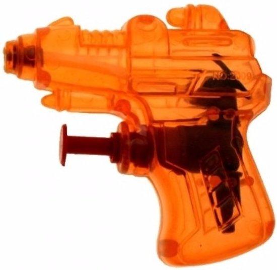 Mini waterpistool oranje 7 cm