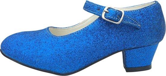 0a918ef75acc50 Spaanse Prinsessen schoenen donker blauw glitter maat 33 (binnenmaat 21 cm)  bij jurk